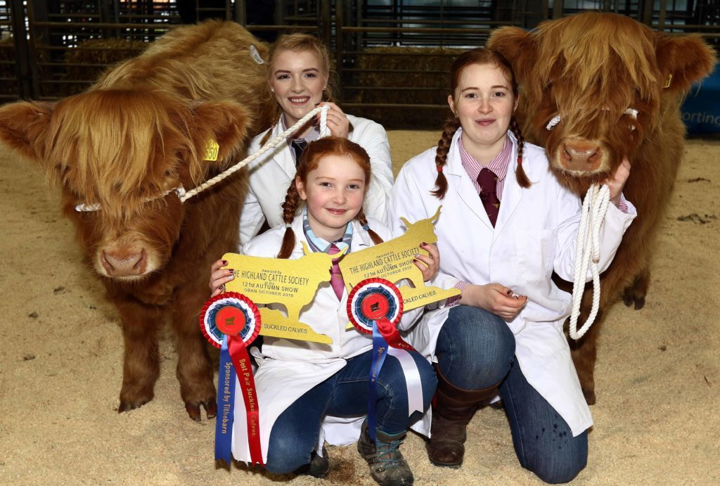 Great end to the day for  Erin, Murn and youngest Kate Cameron as they retain the best pair of suckled calves for the Dunach fold. The fold is run by the girls' dad John on behalf of Lord and lady Denholm. Picture by Kevin McGlynn.