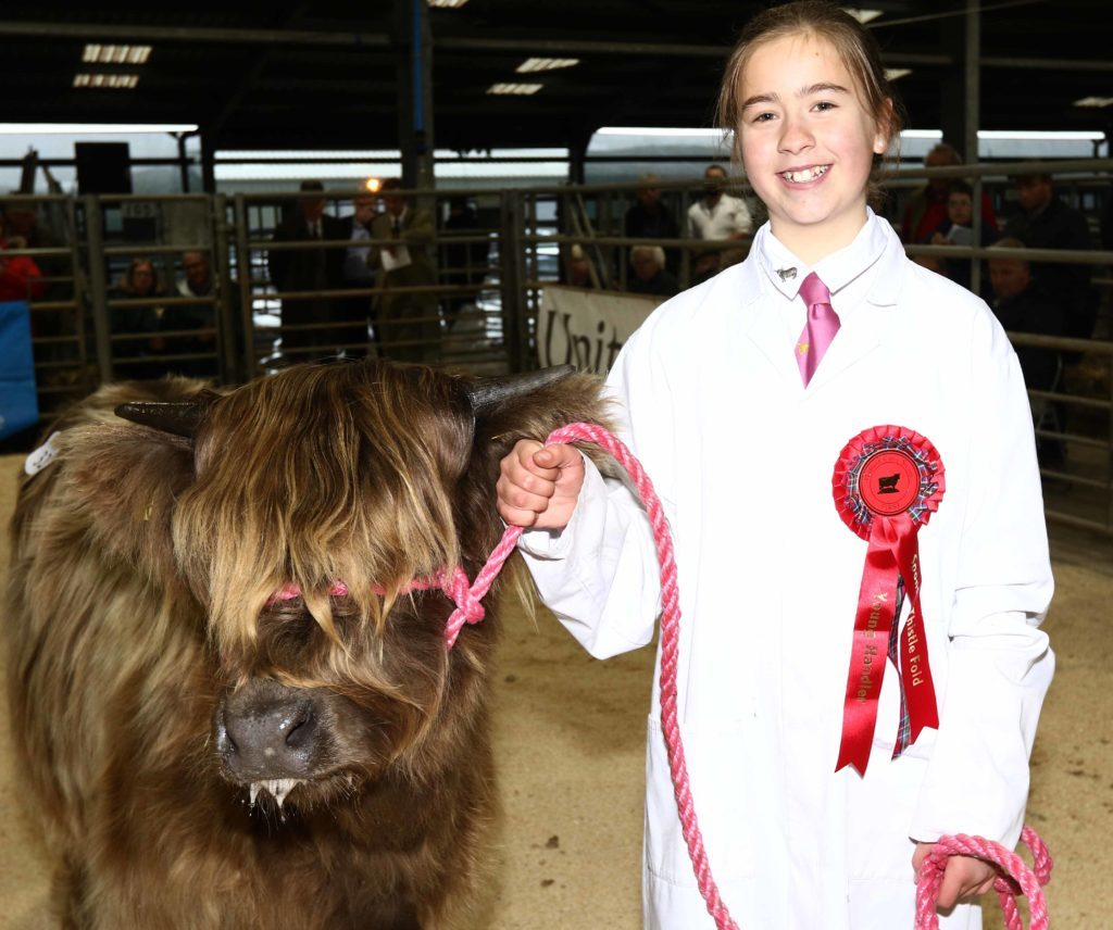 Emily Armstrong from Tiree was the winner of the junior section young handler of the year. Picture by Kevin McGlynn.
