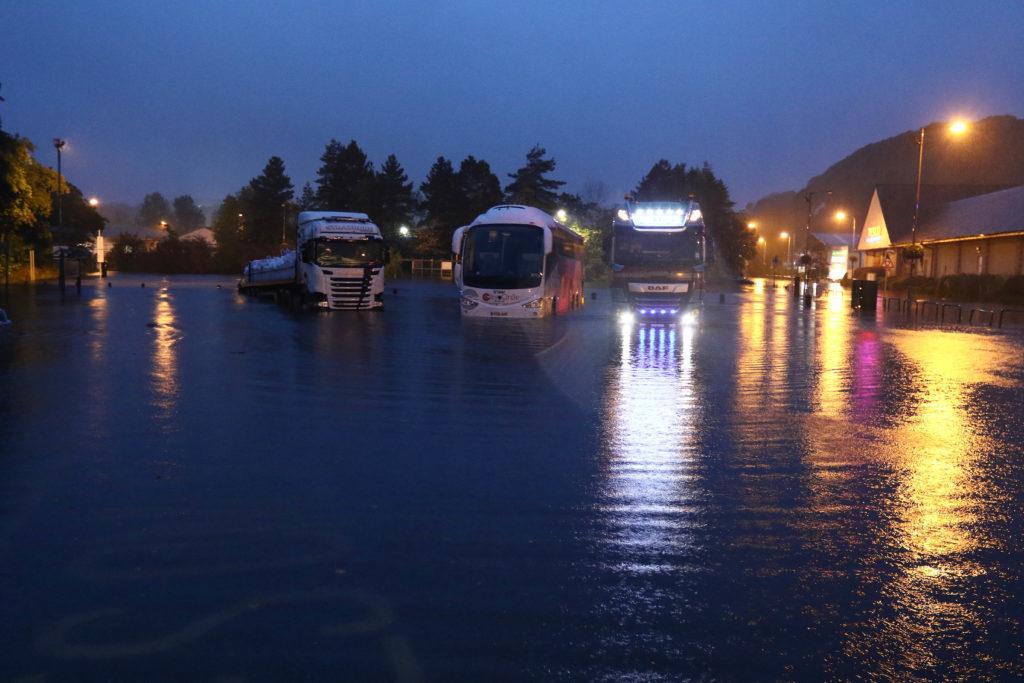 A bus and lorries in Lochavullin car park. Photo: Kevin McGlynn