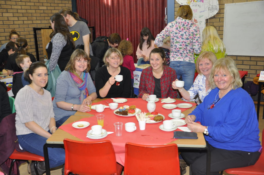 Head teacher Shirley Matheson, right, enjoyed the baking.  17_T46_LochnellFundraiser04
