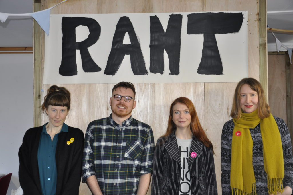 Rona Dougall, Kirsty MacDonald, Jamie Livingston and Mara Dougall organised the pop-up art and book festival at the Rockfield Centre. 17_T48_WinterFestivaSaturday08