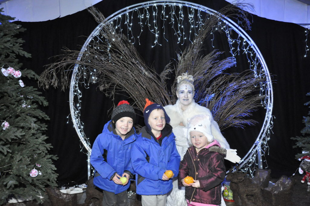DJ, Jamie, and Amy Barr, met the Ice Queen at the end of the trail at Glencruitten Woods. 17_T48_WinterFestivaSaturday10