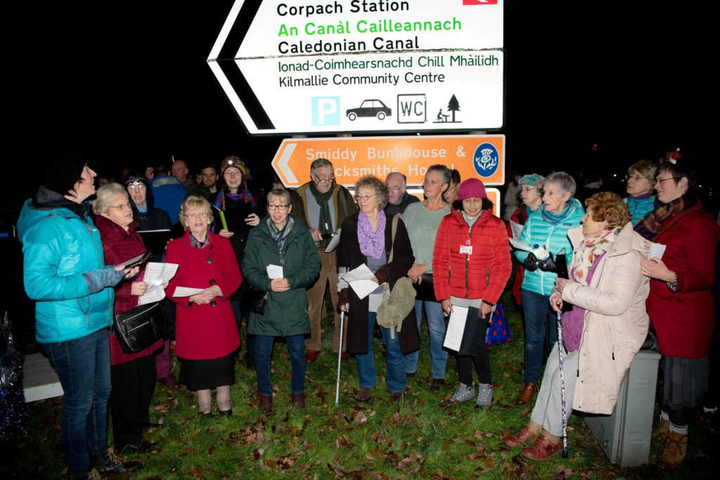 There was a good turn out for the switch-on of the festive lighting display.   NO F47 Kilmallie light switch on _-2
