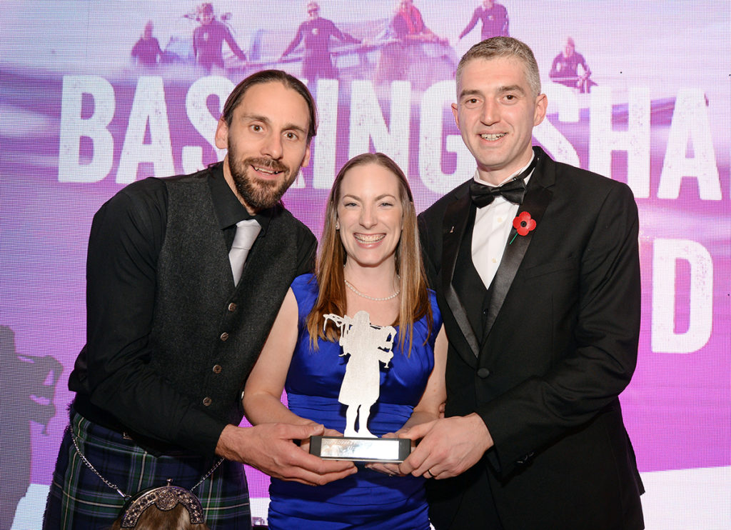 Best Outdoor / Adventure Experience Basking Shark Scotland. Kris Bevan, freight manager, NorthLink Ferries, right with Shane and Nikki Wasik.