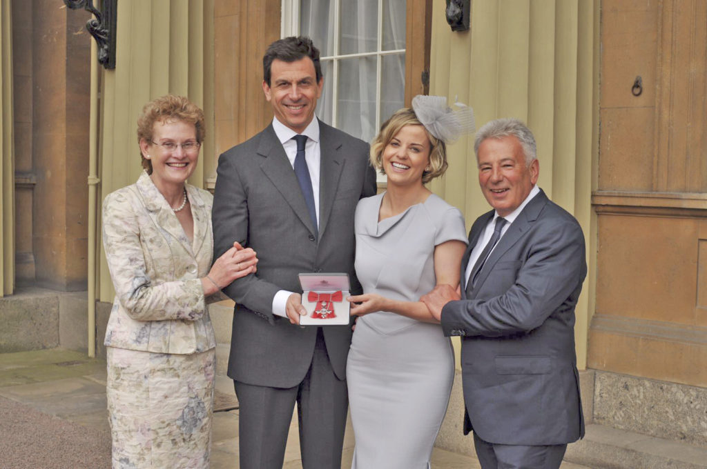 Susie Wolff with her husband Toto and her parents at Buckingham Palace.