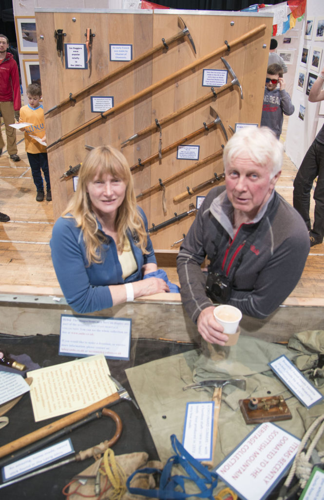 The Mountaineering Museum display of vintage equipment at the festival, run by Mick Tighe and wife Kathy.