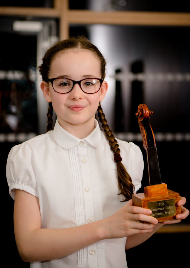 Nie Reid won the Rosemary Galer Trophy for solo violin or viola (primary). NO 13 LMF Nia Read Rosemary Galer trophy for solo violin or viola (primary)