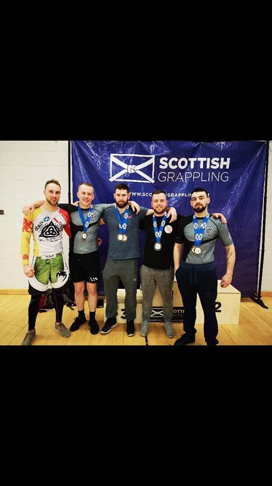 The Oban MMA team who took part in the UKBJJA West of Scotland Open at Ravenscraig. Left to right: Liam Roberts, Callum Weir, Gregory Black, Ruarigh Black and Russel MacLennan.