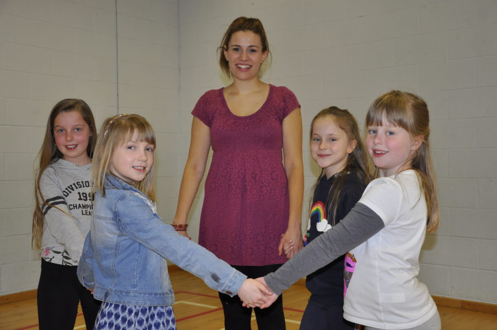 Sophie Stephenson with her step dancing class.