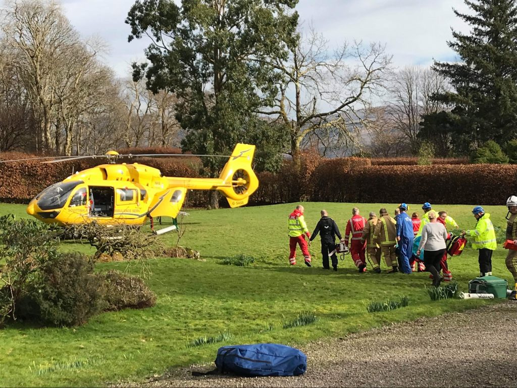 Laurence Mackay was taken to hospital by air ambulance.