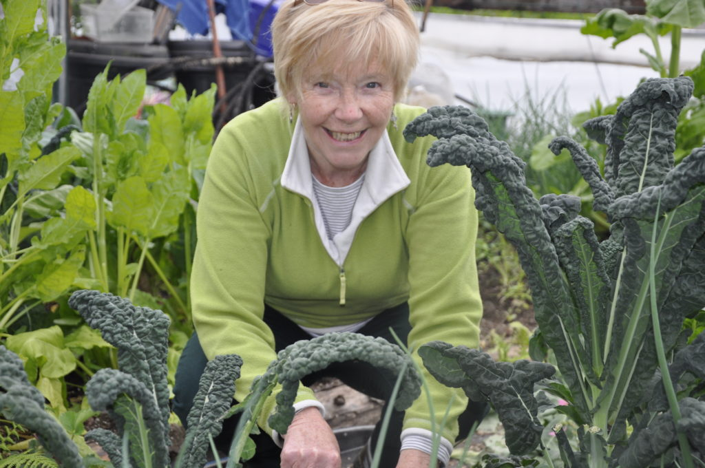 Marlyn Turbitt gets hands on at Lorn Organic Growers.
