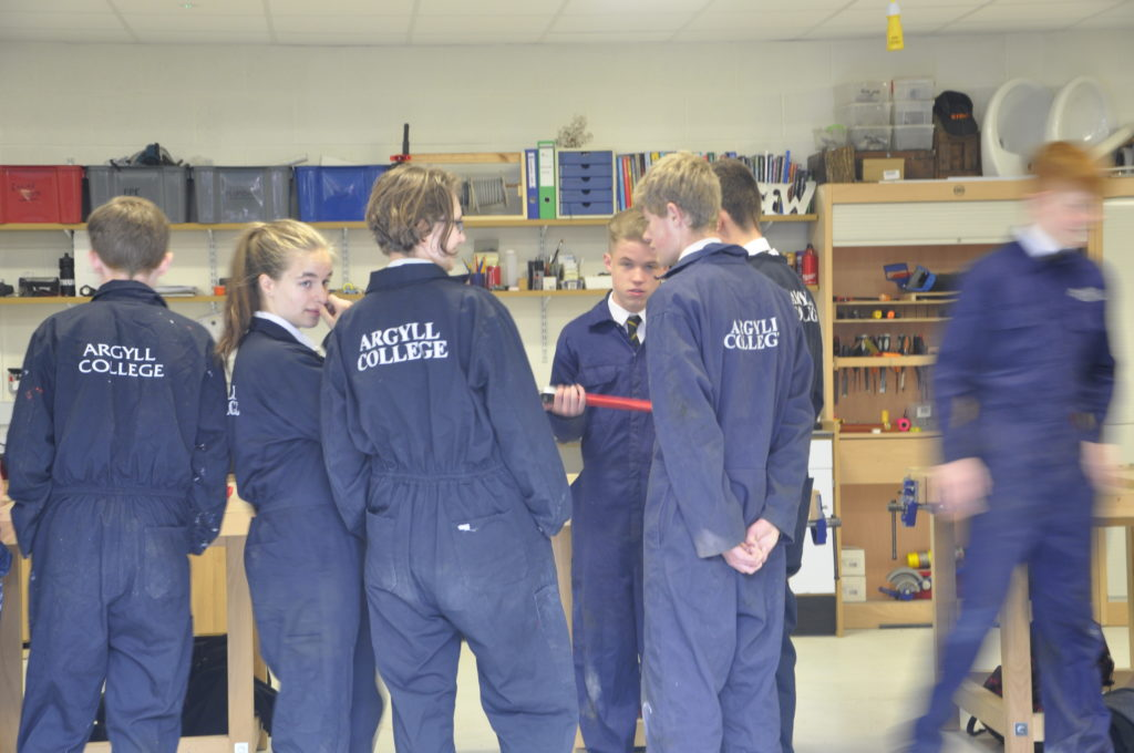 Young mechanics enjoy their new learning environment.