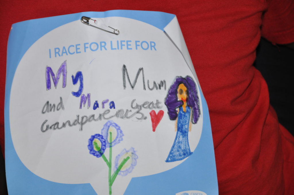 Some of the messages the youngsters had written in recognition of relatives and friends who have experienced cancer.