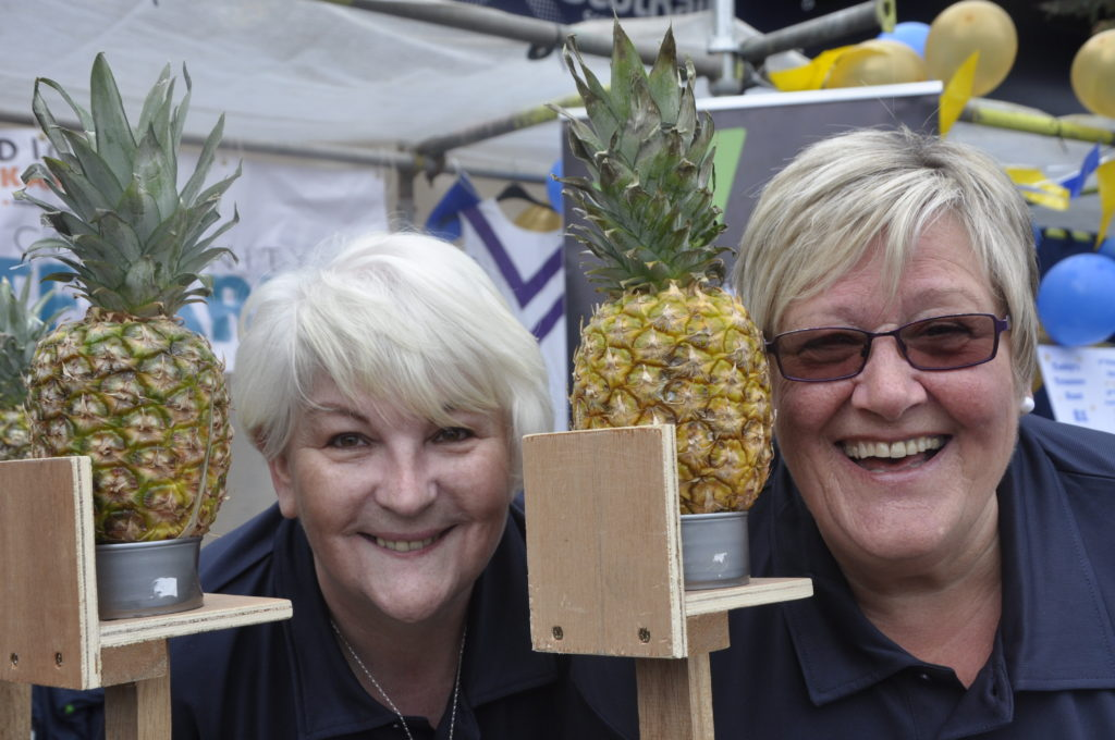 On the pineapple shy were Kathleen McNiven and Anne Ferguson who are both are adult volunteers with Police Scotland Youth Volunteers.