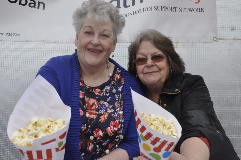 Popcorn anyone? Janet Grout and Amina Capocci were on the BreathEasy charity stand.