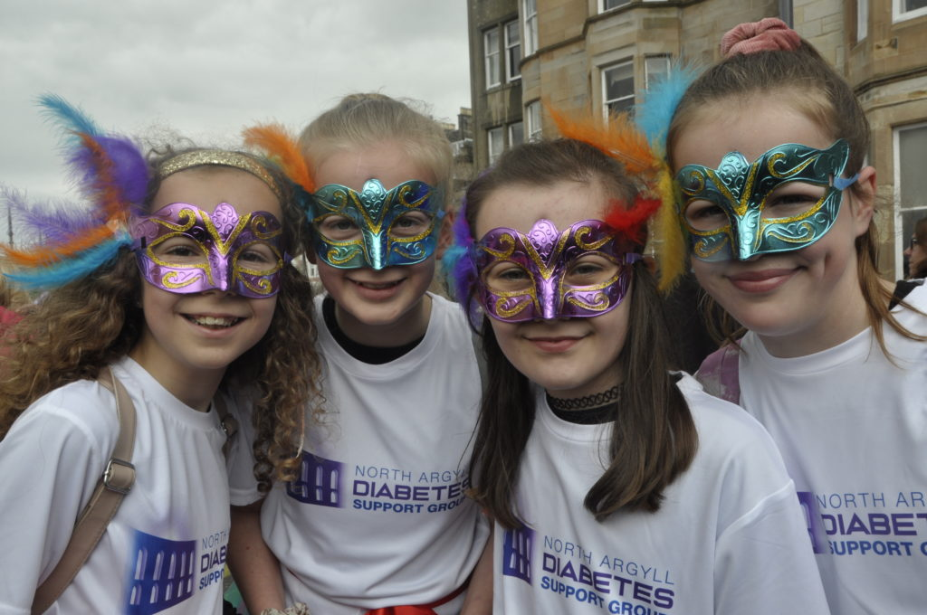 Erin Farrelly, Anna Forgrieve, Emma Morrison and Lucy Blue joined in the parade supporting North Argyll Diabetes Support Group.
