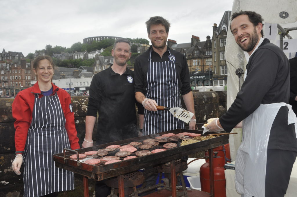 Oban Mountain Rescue were busy flipping burgers to keep the crowd fed.