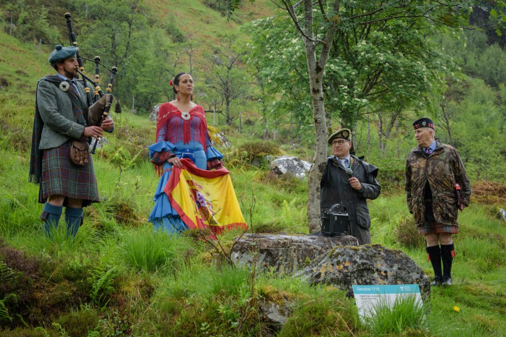 One colourful visitor represented the Spanish soldiers who died during the battle.  NO F24 Glen Shiel Commemoration-102