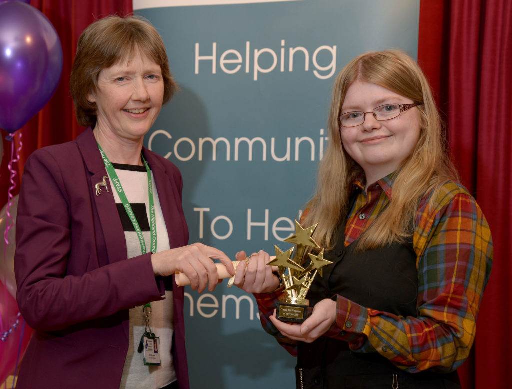 Dot Ferguson, left, of The Highland Council presents the award for Young Scot Volunteer of the Year (under 25) to Gemma MacLeod.  NO-F24-VOSCAR-02.jpg