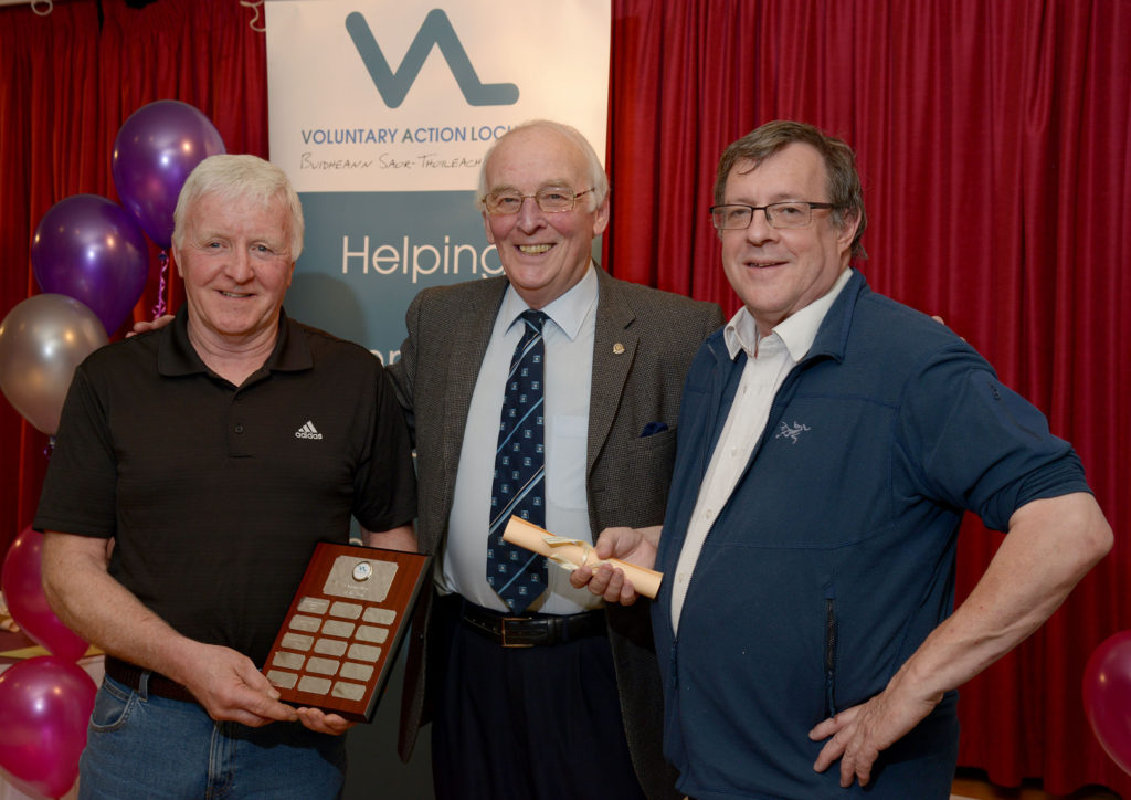 The award for Organisation of the Year went to Lochaber Mountain Rescue Team, represented by John Stevenson, left and Brian Tregaskis, right, with VAL director Terry Lee, centre.  Terry Lee, centre.  NO-F24-VOSCAR-03.jpg