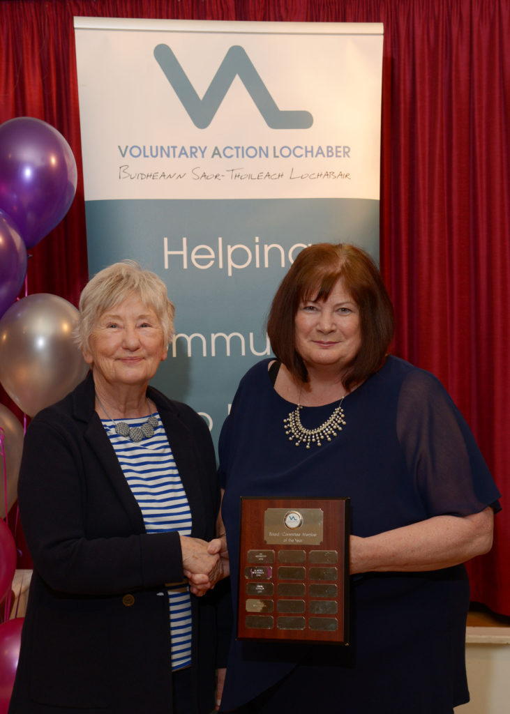 The award for Board/Committee Member of the Year was presented to Judith James Davies, right, by Grace Grant.  NO-F24-VOSCAR-05.jpg
