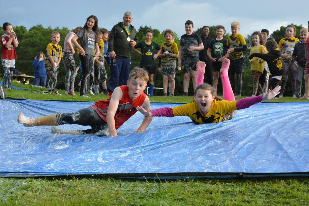 Fun on the 'slip slide'.