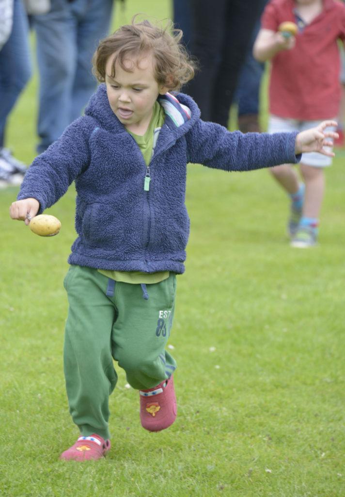 Fun in the egg and spoon race. Photograph: Iain Ferguson, alba.photos
