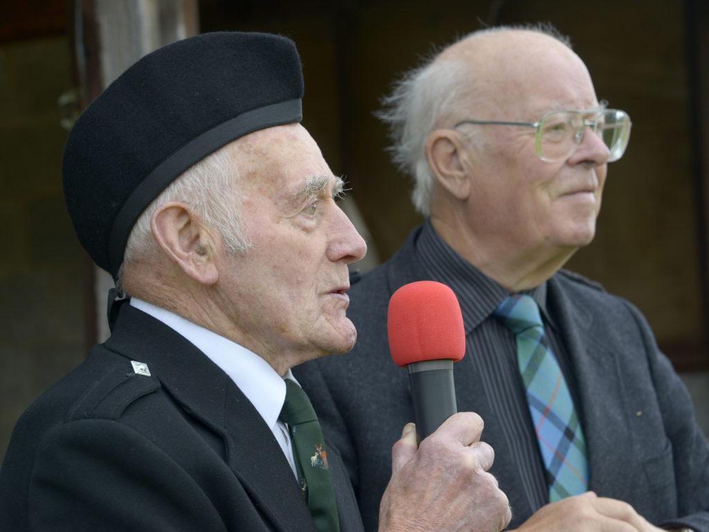Games Chieftain Freddie Service, left, with Eric MacKenzie.  Photograph: Iain Ferguson, alba.photos