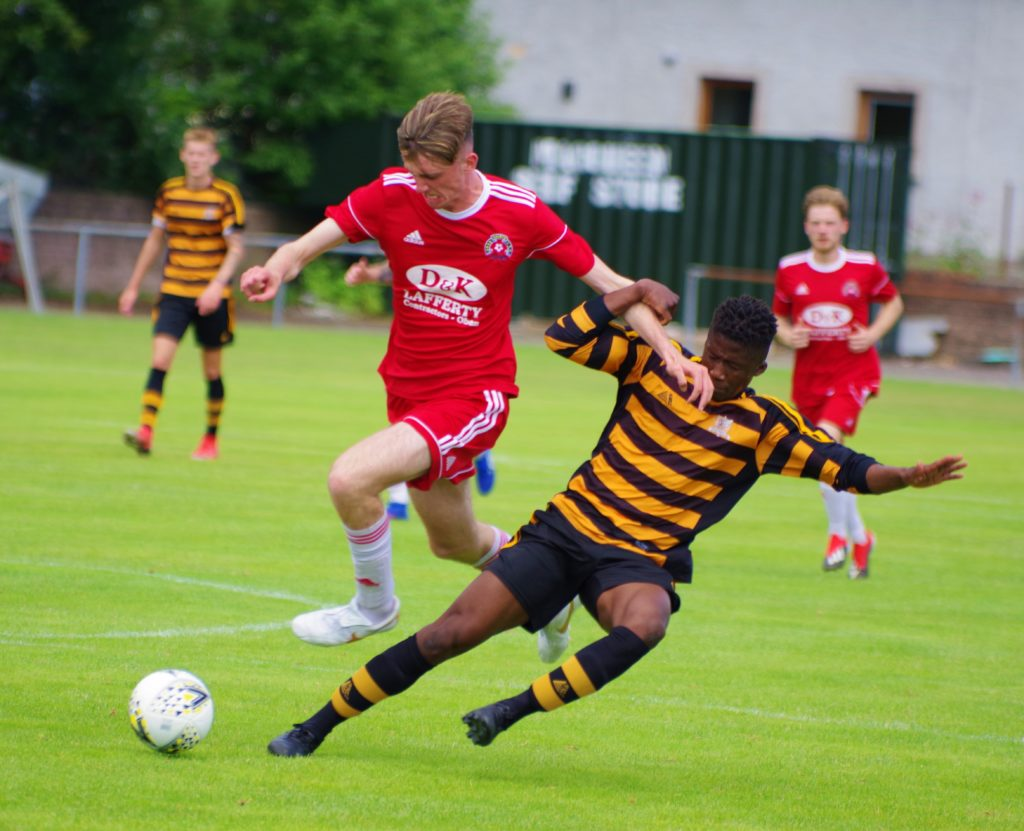 Saints striker Cammy Hill in action against Alloa Athletic.