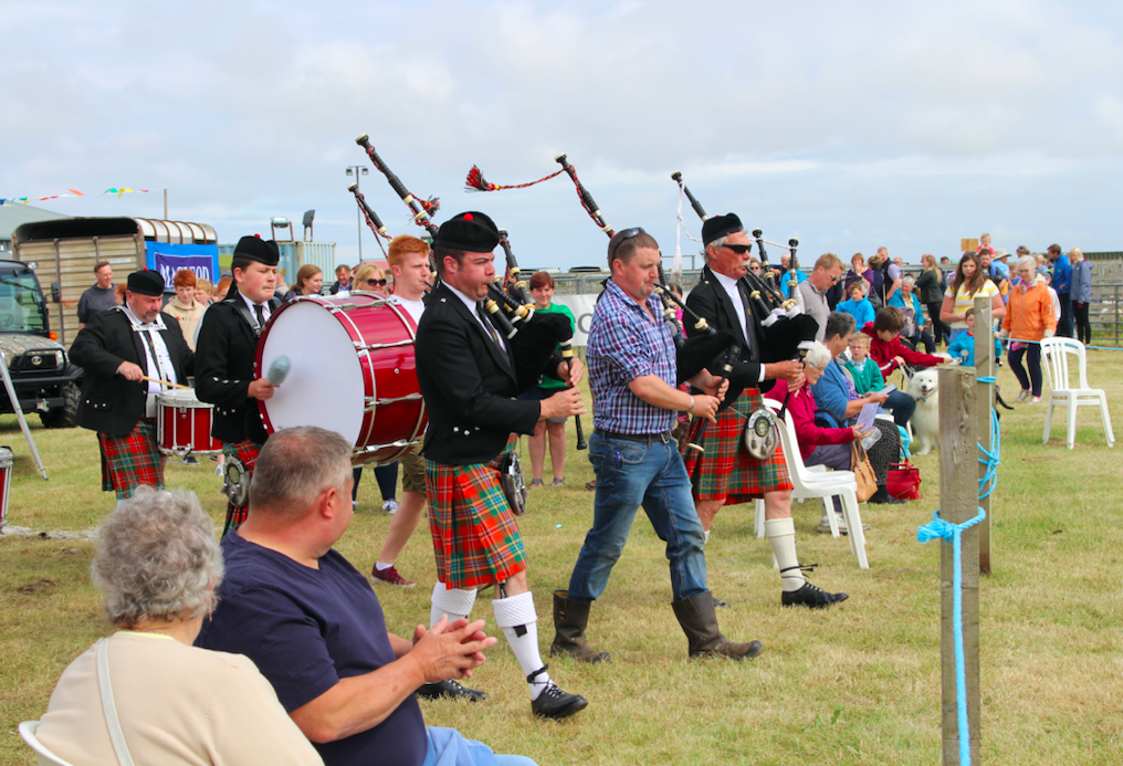Tiree Pipe Band keep up an island tradition at the Tiree Show. Photo by Anne Stanley.