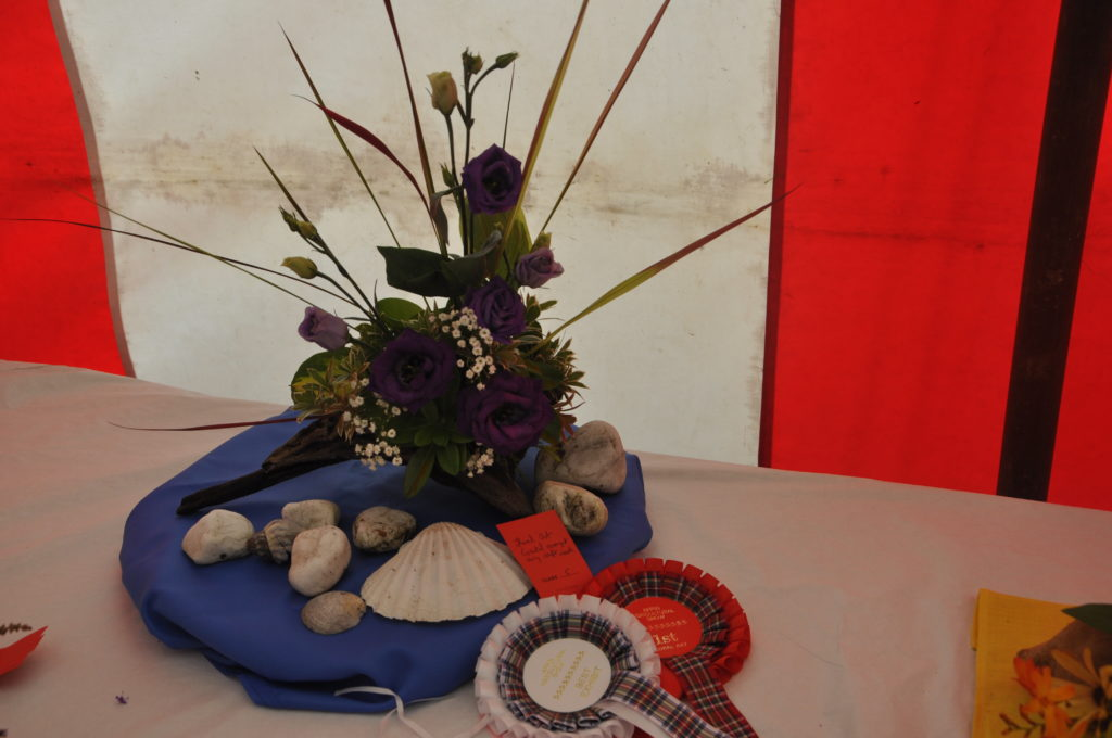 This coastal arrangement using driftwood by Marina  Curran Colthart won best exhibit in the floral art section.