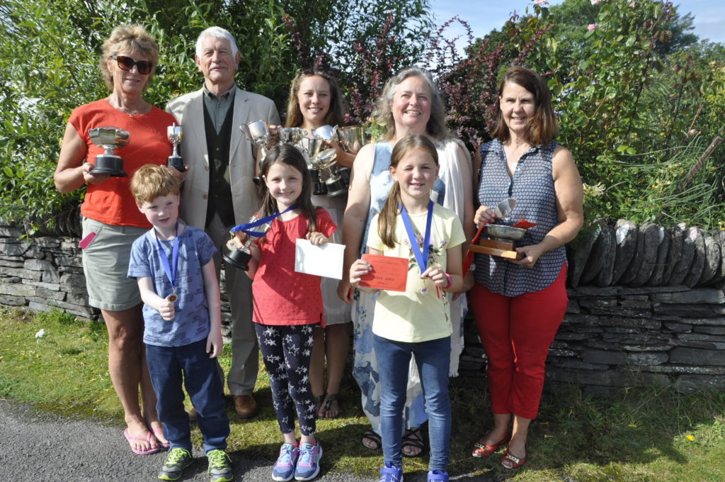 John Blackwell with a line-up of winners from Luing Horticultural Show.