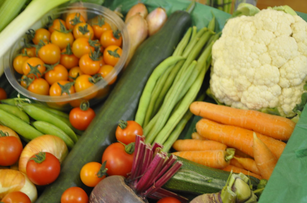 Just some of the colourful homegrow vegetables and salad at the Luing show.