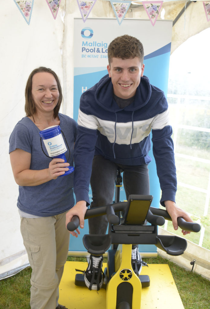 Tiina Heinonan and Duncan Biddulph were raising funds for Mallaig Leisure Centre and pool with a 'spinning' competition. Photograph: Iain Ferguson, alba.photos