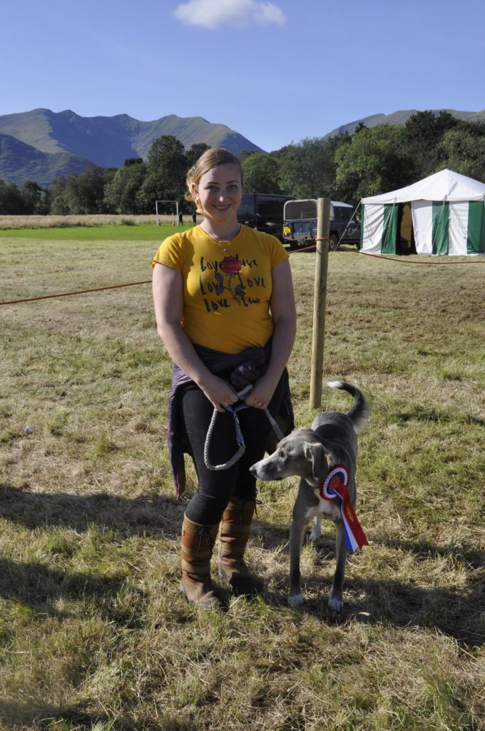 Stephanie Summers with Blue the lurcher who took the Overall Dog honours.