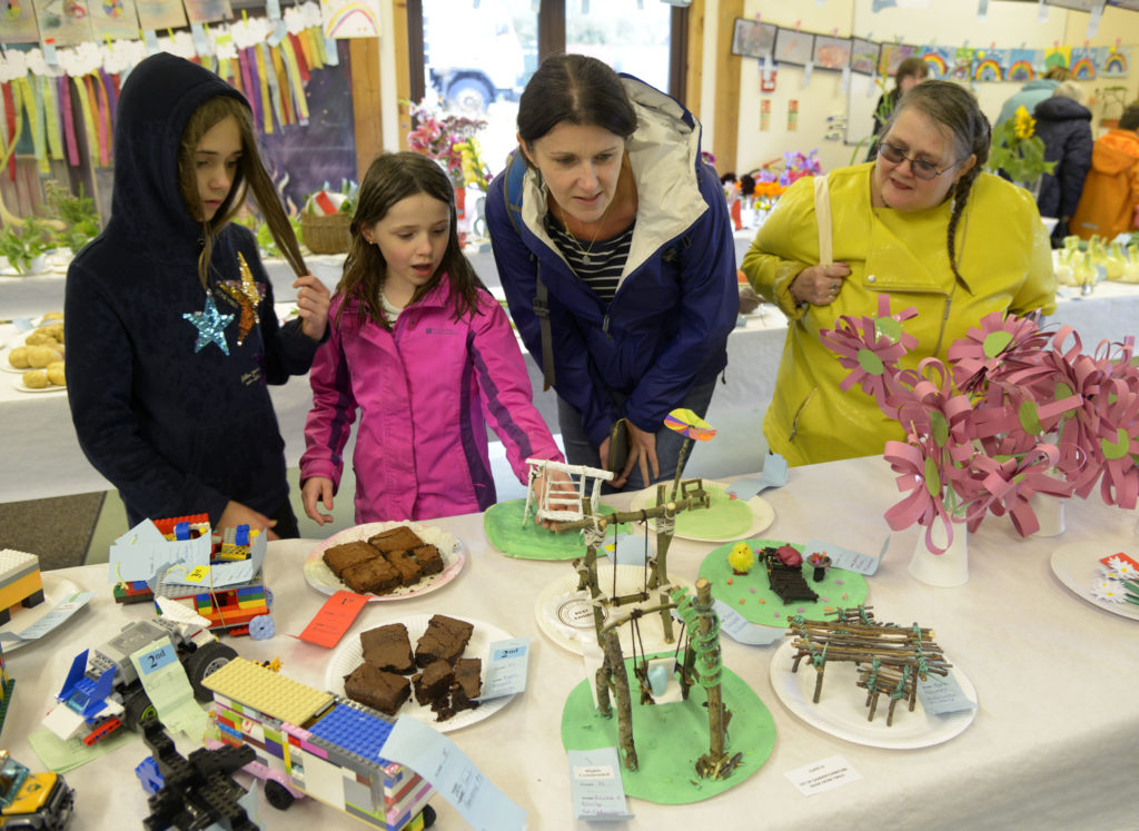 Visitors are impressed by the many primary school exhibits. Photo: Iain Ferguson, alba.photos. NO F37 Rural complex garden 03