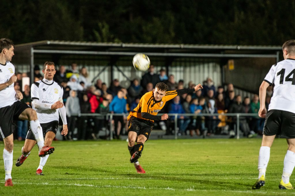 Kieran Chalmers shoots on goal. Photo: Abrightside Photography. NO F38 Fort Clach 04