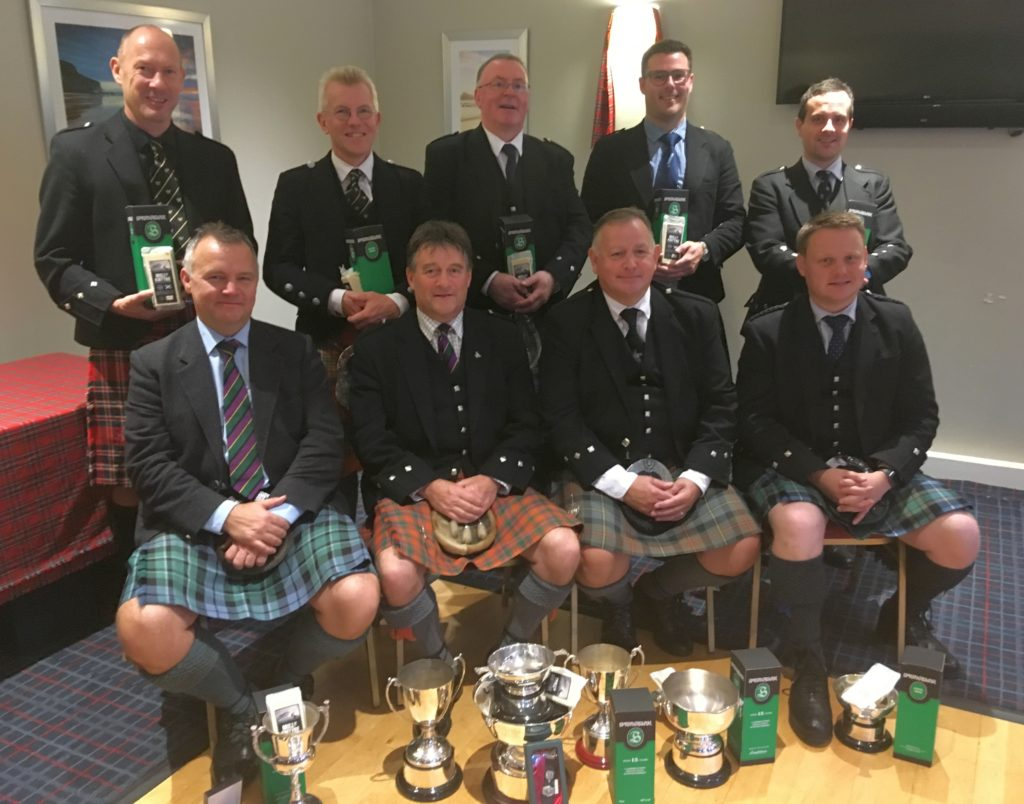 Back row, from left: Iain Speirs, Peter McCalister, Willie McCallum, Glenn Brown and Finlay Johnston. Front: Stuart Liddell, Angus MacColl, Roddy MacLeod MBE and Callum Beaumont.
