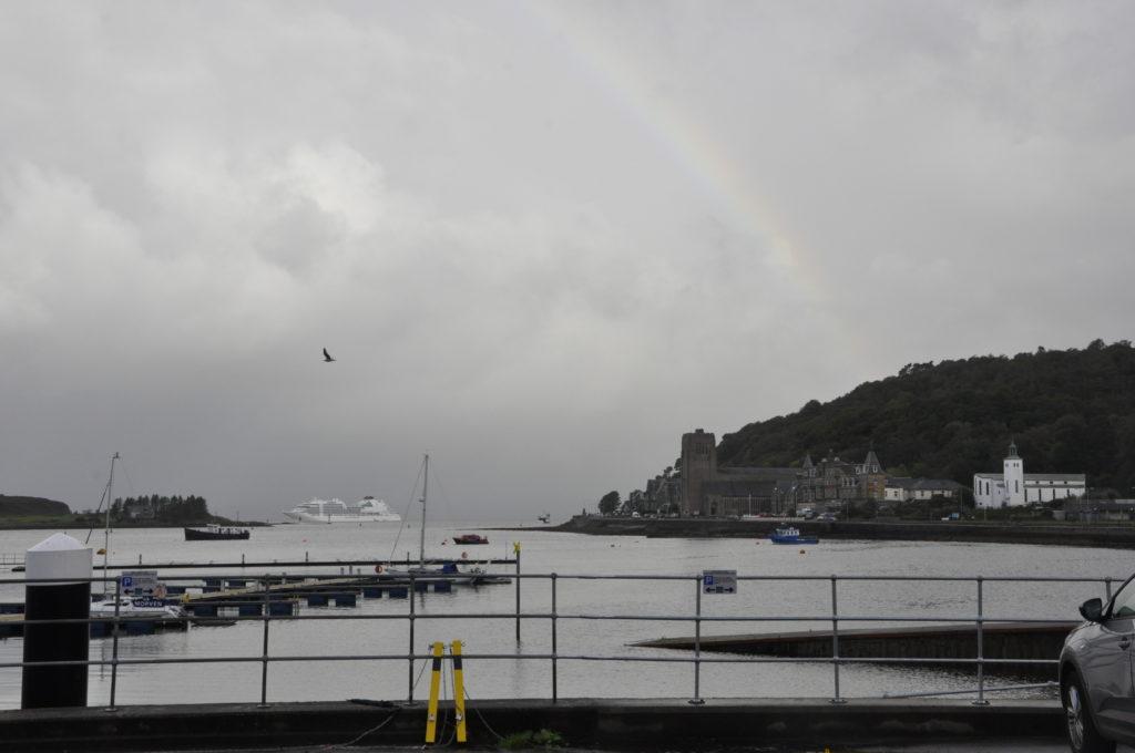 A rainbow formed an arc around Seabourn Ovation last Thursday morning.