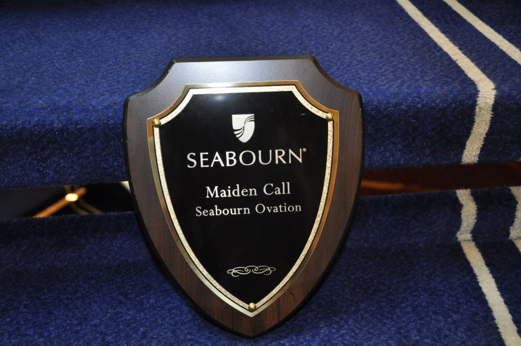 The plaque presented to Oban from the captain of Seabourn Ovation.