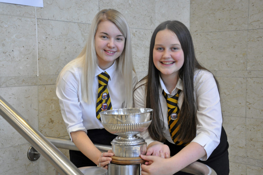 Kirsty Nicolson and Talia Graham, both from Sgoil MhicNeacail, won the Alexander Hamilton Trophy for jointly receiving the highest marks in Gaelic in the learners prescribed song. 17_DM_ModMonday17