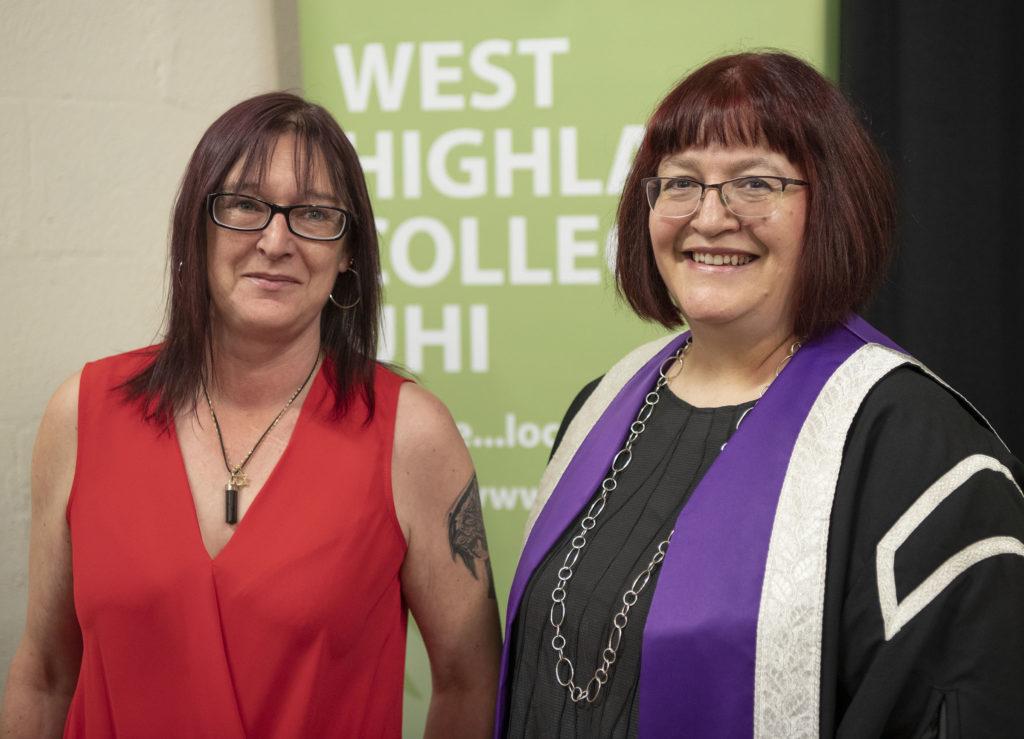 Lydia Rhomer with Linda MacKenzie, FE Student of the Year.  Photograph: Iain Ferguson, alba.photos