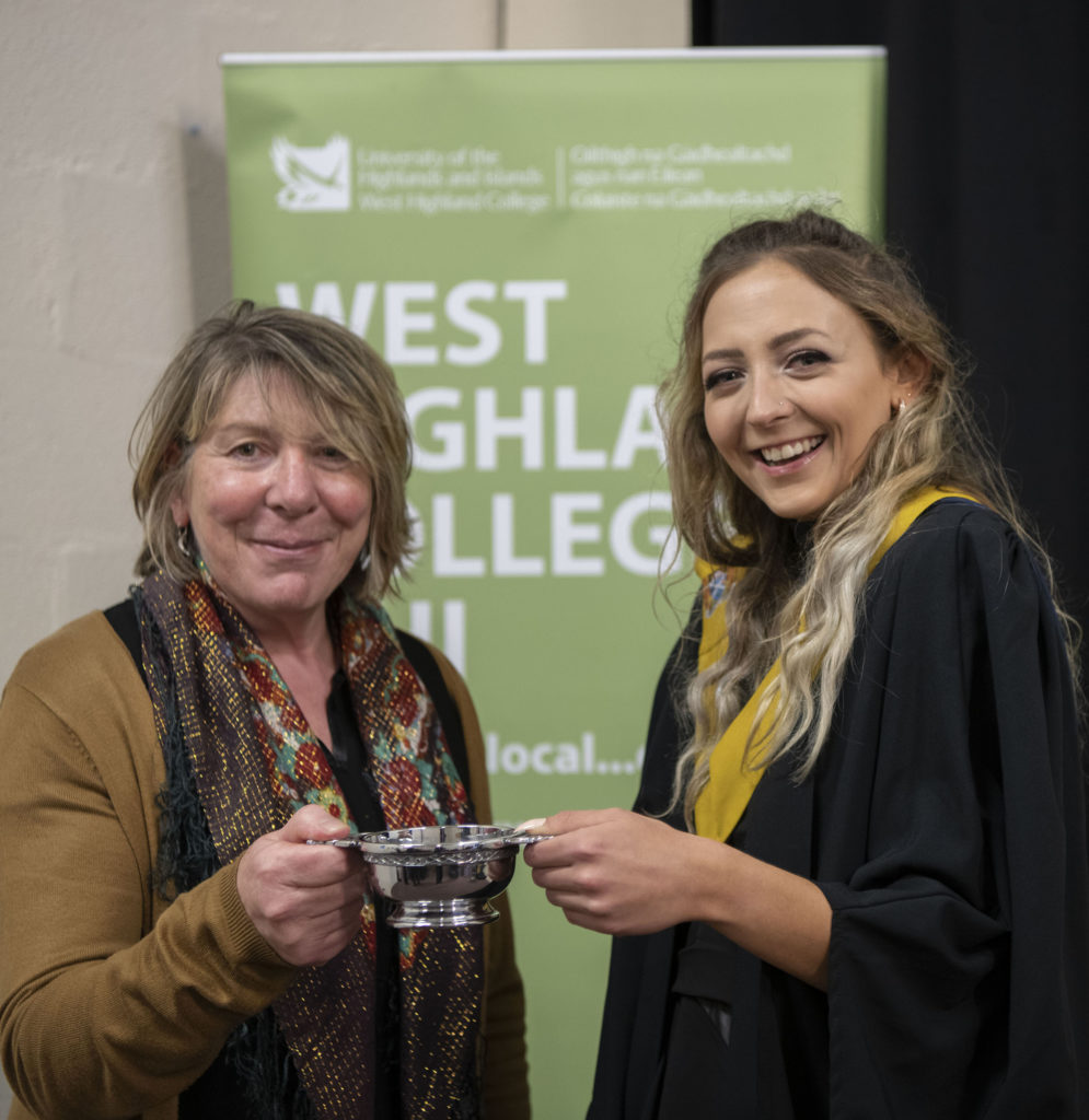 In addition to being announced as Higher Education Student of the Year, Sandra Palicka was presented with a Quaich as winner of the Ina Maciver Award for NHS Highland Integrated Health and Social Care 18/19. Photograph: Iain Ferguson, alba.photos  NO F42 WHC Sandra Palika award