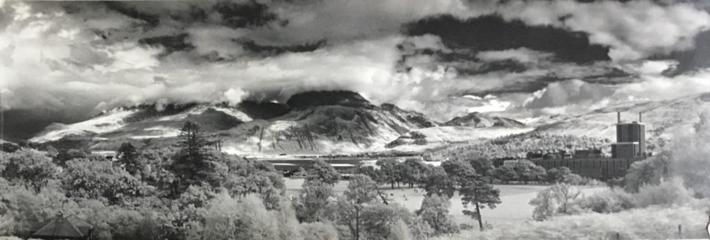 A view of the pulp mill and Ben Nevis as seen from Corpach. Photograph: Andy Paton Collection gifted to Lochaber Local History Society.  NO F45 The pulp mill and Ben Nevis from Corpach