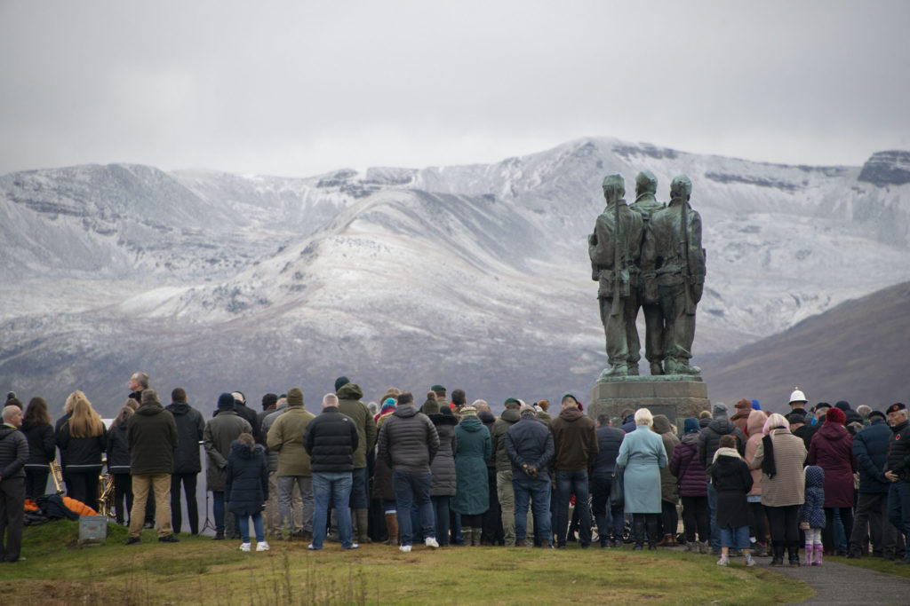 A large crowd braved the cold weather to pay tribute at the Commando Memorial.  NO F46 Commando Mem crowds 02