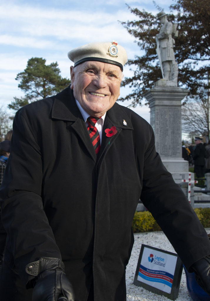 RAF veteran Mark McCann marked his 59th attendance at the Fort William Remembrance Day service. Photograph:  Iain Ferguson, alba.photos  NO F46 Fort Memorial 12