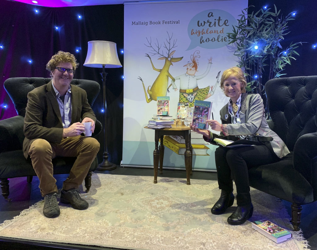 Shaun Bythell, seen here in conversation with Polly Pullar, had a smash hit with Confessions of a Bookseller.  NO F46 MBF Shaun Bythell and chair Polly Pullar
