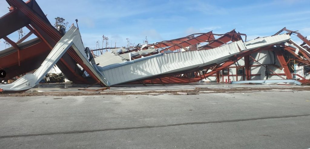New hangar destroyed by the hurricane that hit the Bahamas.