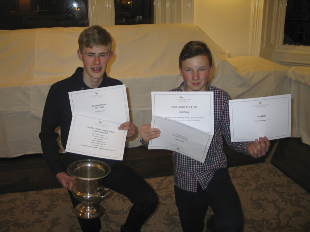 Calum Warnock, left, dinghy champion, and Harry Neil, junior member.