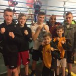 LOCHABER PHOENIX BOXING TRIP 16/1/17 Young Lochaber boxers (left - right) Robert MacDonald, Cameron Whyte, Shaun Wallace and (right) Ross MacConnell, front row left - right Max Derbenovs and Josh Dieguno  with (back row, second from right) Junior Witter who has held multiple light-welterweight championships including the World Boxing Council title from 2006 to 2008.